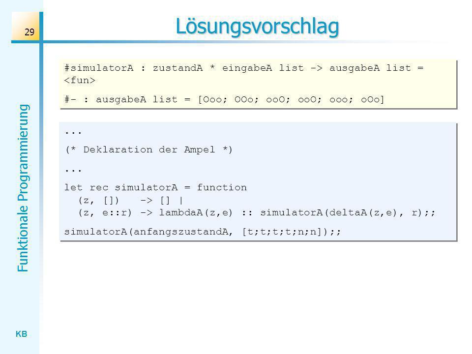 Lösungsvorschlag #simulatorA : zustandA * eingabeA list -> ausgabeA list = <fun> #- : ausgabeA list = [Ooo; OOo; ooO; ooO; ooo; oOo]